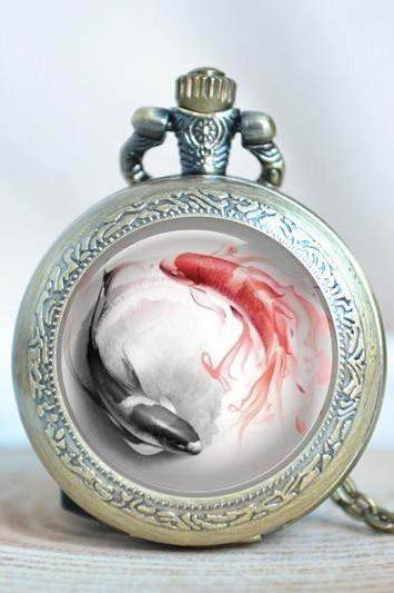 Fish pocket watch necklace,steampunk Taichi yin yang pattern necklace, ink and wash painting watch necklace (PW01)