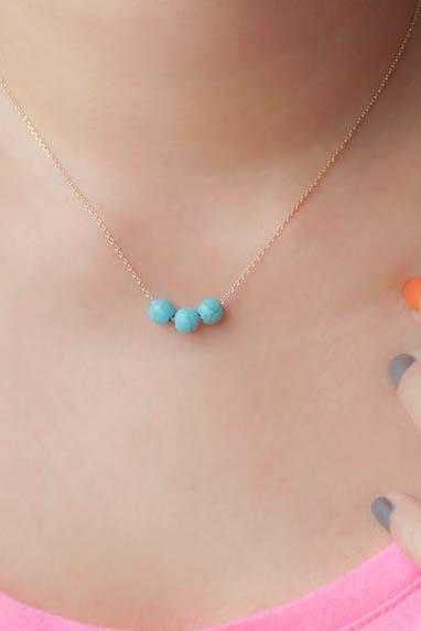 Turquoise Bead Necklace, Three Wishes Trio Bead Necklace