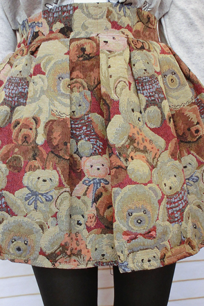 High Waist Embroidered Happy Cutie Bears Skirt