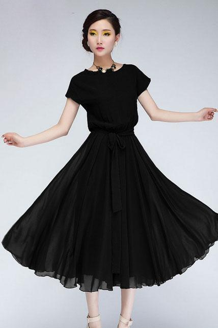 Chic Cap Sleeve Empire Waist Chiffon Pleated Dress - Black