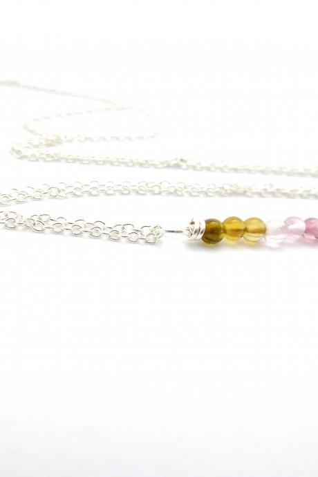 Rainbow Tourmaline Necklace in Sterling Silver