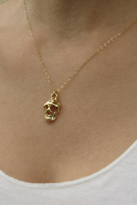 Gold necklace, Skull necklace, Everyday jewelry, Gold skull, Gift for her, Skull jewelry, Trending jewelry, Simple gold necklace