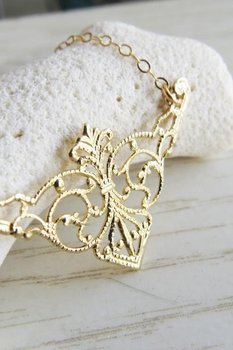 Gold necklace, Filigree necklace, Simple everyday necklace, Gold jewelry, Bridal necklace, Unique gift