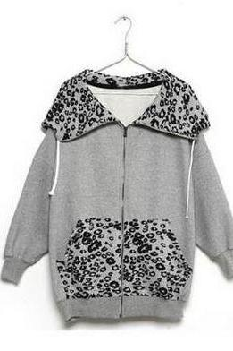 Gray Leopard Fleece Jacket Hoodie
