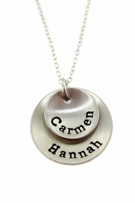 Hand Stamped Jewelry - Personalized Sterling Silver Necklace for Mom - Two Pendants Domed