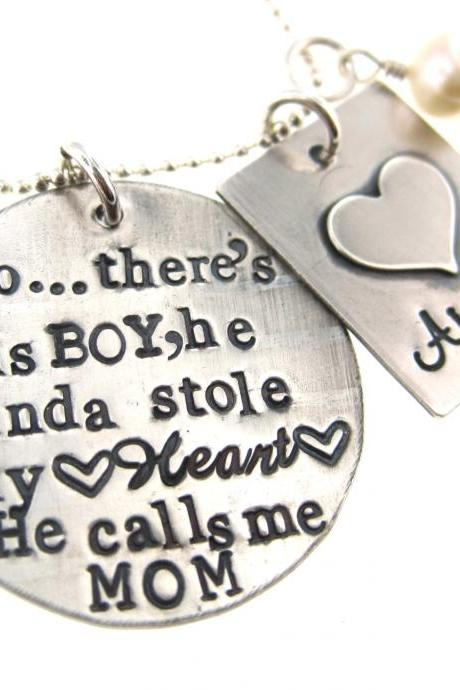 Personalized Mother & Son Necklace - So..There's This Boy Who Stole My Heart, He calls me MOM