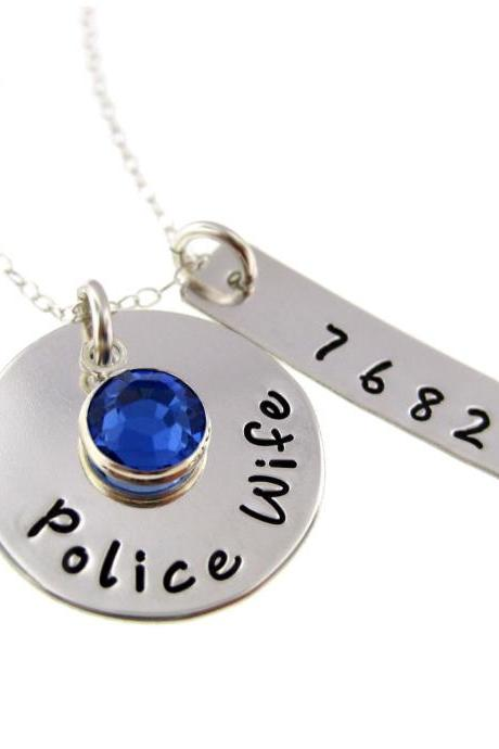 Police Wife / Army Wife/ Deputy Wife / Sterling Silver Hand Stamped Necklace with Freshwater Pearl