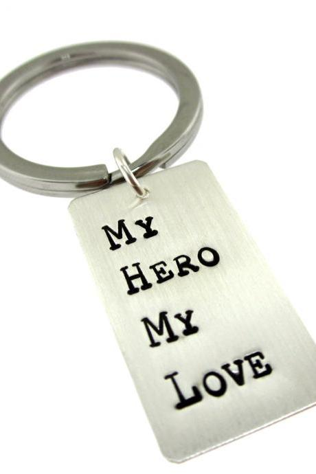 Personalized Rectangle Sterling Silver Key Chain For Him