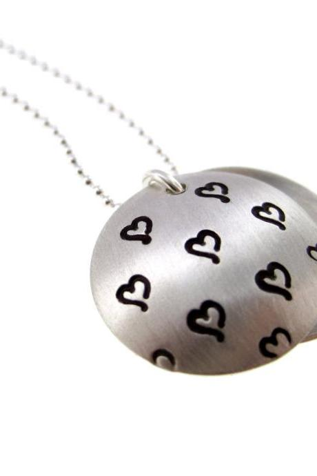L O C K E T - Secret Message On the Inside - Sterling Silver Hand Stamped Necklace