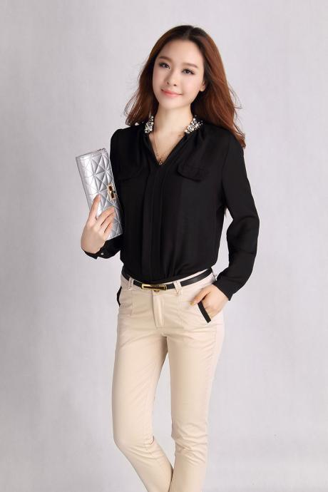 Elegant Black Studded V Collar Chiffon Blouse