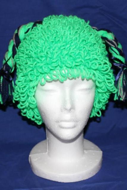 Crocheted Seahawks Colors Beanie Hat