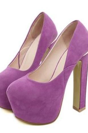 Purple Princess Style High Heel Pumps
