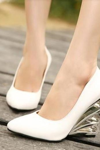 Girly White Platform High Heel Shoes