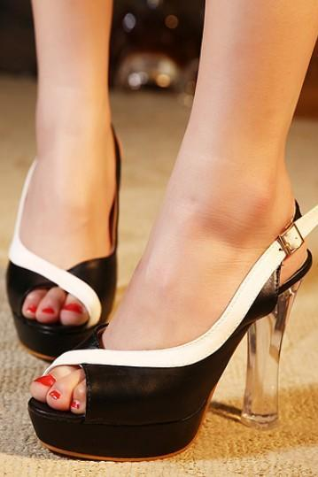 Luxury Color Block Peep Toe Chunky Heel Pumps