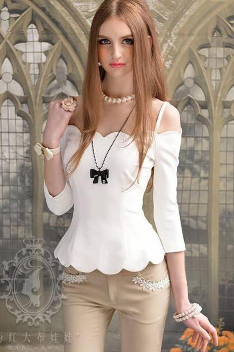 Off Shoulder White Long Sleeve Blouse