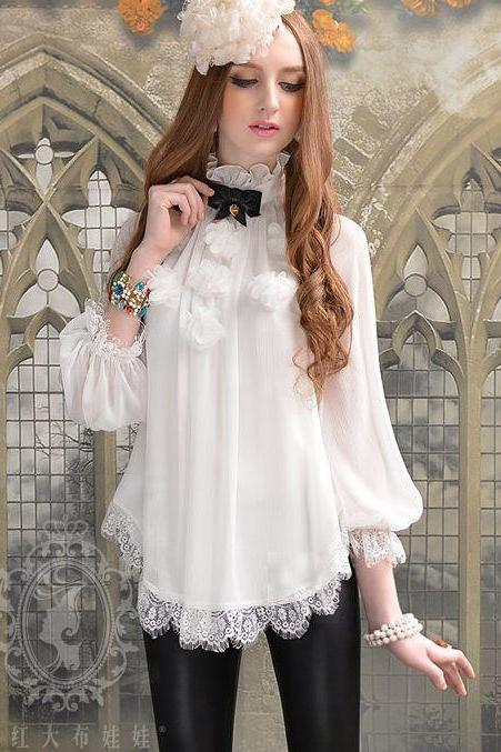 Chic White Stand Collar Long Sleeve Lace Blouse