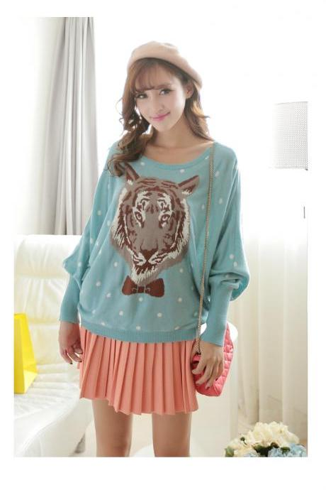 Cute Tiger Print Round Neck Pullover Sweater