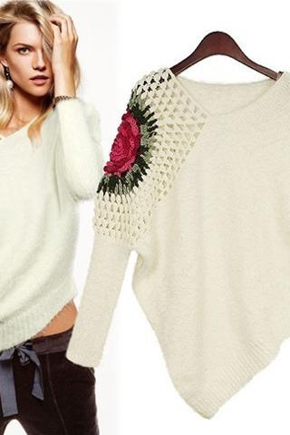 V Neck Long Sleeve White Pullovers