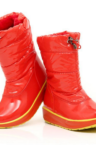 new style fashion patent leather snow boot waterproof down feather warm cotton boots woman winter shoes