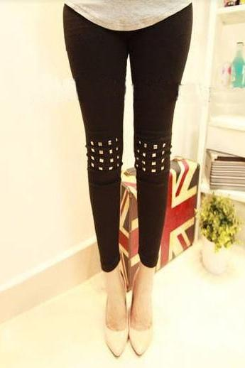 Studded Rivet Cotton Leggings