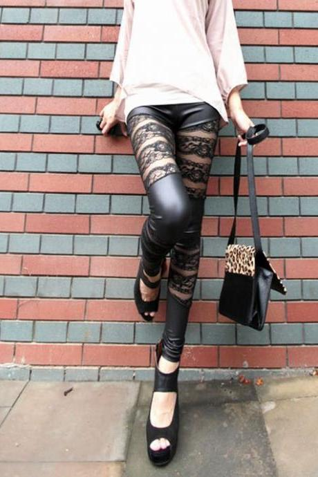 Black PU&Lace Mix Slim Fit Leggings