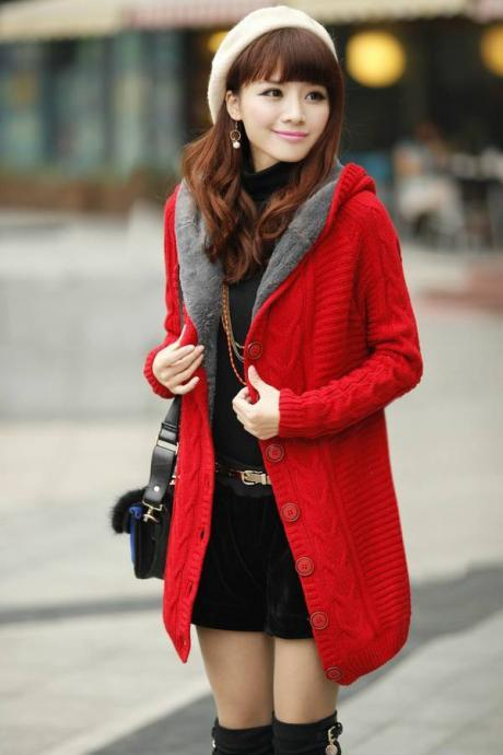 Long Sleeve Red Cotton Hooded Cardigan Sweater