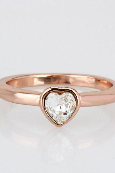 18k Rose Gold Plated Heart Design Crystal Ring