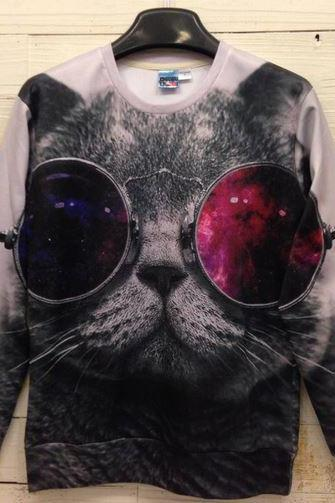 Cat w/ Steampunk Sunglasses Sweatshirt