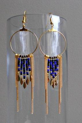 Creole earrings ethnic chic blue, black and gold