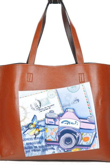 Camera Print Patent Leather Tote Bag And Small Zipper Pouch