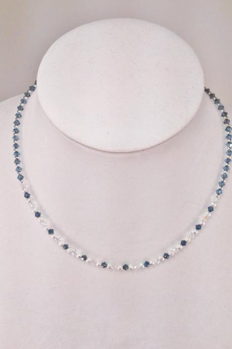 Sapphire Swarovski Crystal and Silver Necklace