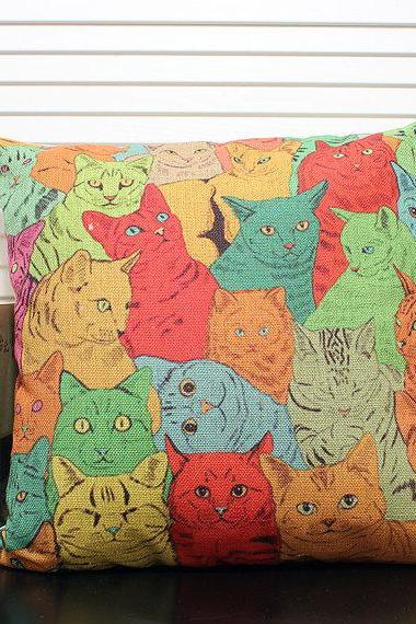 A lot of cats hand-drawn style linen vintage Japanese cartoon sofa pillow decorate&cushion cover