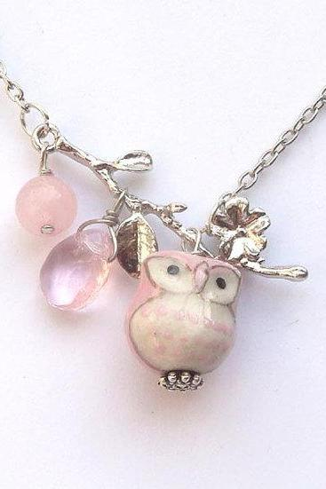 Silver Leaf Jade Quartz Porcelain Owl Necklace