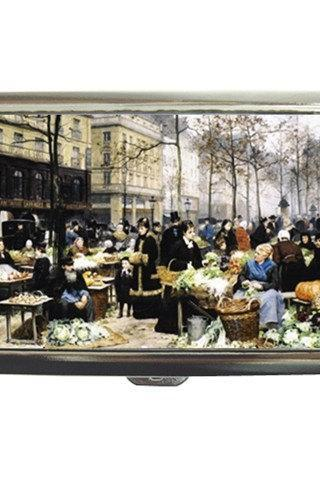Market Day in Old French Town Cigarette Money Case 18502825 Made to Order Custom Design Available