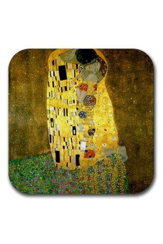 Gustav Klimt The Kiss Fine Art Painting Rubber Square Coasters Set 13209095 Made to Order Custom Design Available