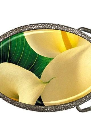 Yellow Calla Lilies Closeup Belt Buckle 11708081 Made to Order Custom Design Available
