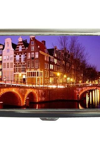 Amsterdam Netherlands Holland City at Night Cigarette Money Case 18861198 Made to Order Custom Design Available
