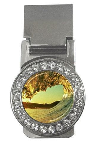 Surfing Wave Scenic Nature Lover Cubic Zirconia 'Diamond' Encrusted Money Clip 15149304 Made to Order Custom Design Available