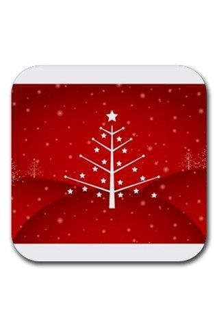 White Fantasy Christmas Tree on Red Rubber Square Coasters Set 12890384 Made to Order Custom Design Available