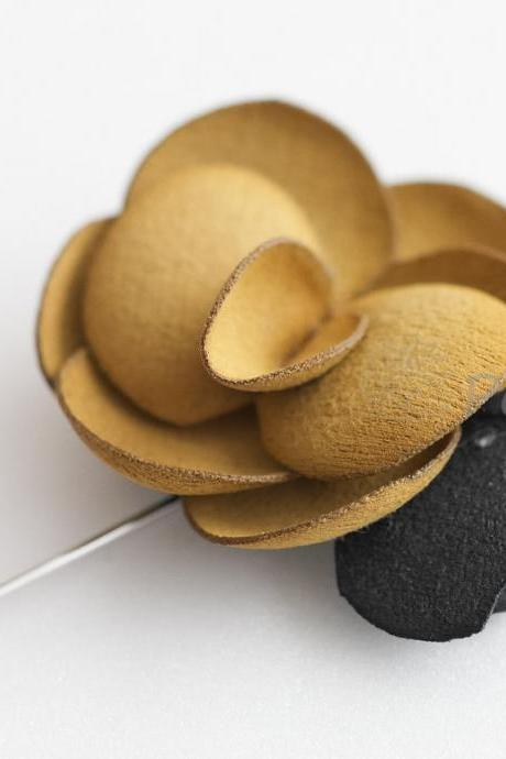 Mustard Yellow-Suede Men's Flower Boutonniere / Buttonhole For Wedding,Lapel Pin,Tie Pin