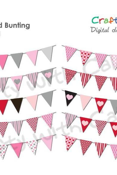 Valentine's Day Clipart, Instant Download, 10 sets of Valentine's Day theme bunting, for scrapbooking, invitation, holiday craft