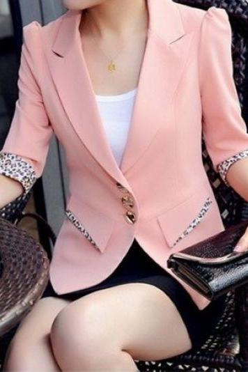 Cute Leopard Print Slim fit Blazer