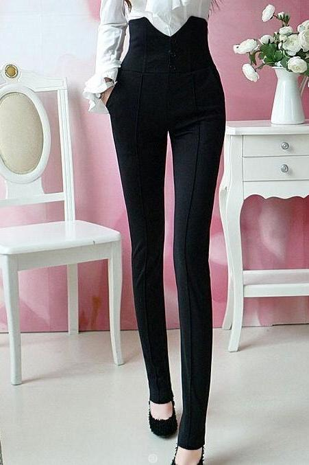 Slim Fit High Waisted Black Pants