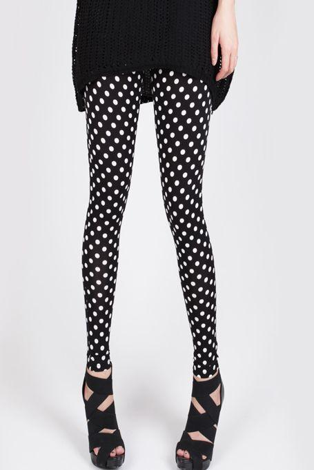 Retro Polka dots Design Black Leggings