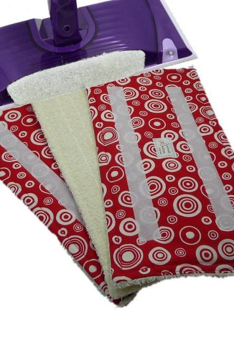 3 Washable Wet Jet Swifter pads - Red Circles pattern