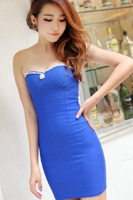 Pearl Design Blue Sexy Dress