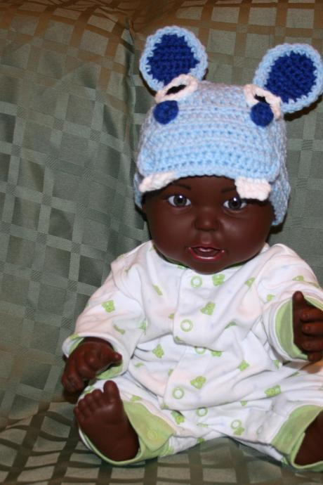 0-3 Month Size Blue Hippo Beanie Hat