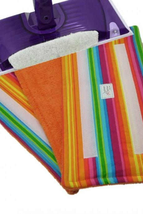 2 Reusable Swiffer Wet Jet pads - Rainbow Stripes pattern