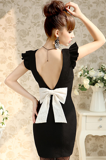Sexy Black Bow Knot Backless Dress