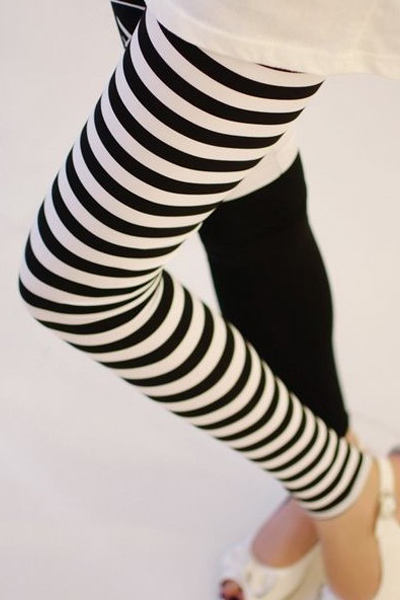 Black and White Printed Cotton Leggings